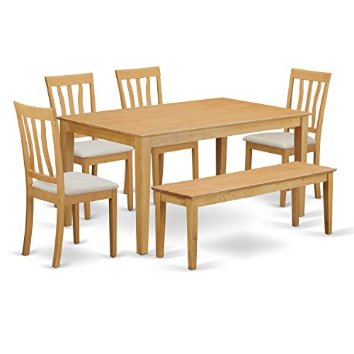 East West Furniture CAAN6-OAK-C 6 Piece Kitchen Dinette Table and 4 Chairs with Wooden Bench Set