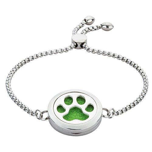 Dog Paw Essential Oil Diffuser Bracelet – Stainless Steel Locket Bangle – Pendant Diameter, 25 mm – for Women,Girl,Child,Birthday,Valentine's Day,Mother'sDay Gift By Jenia