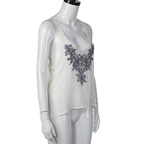 Fulltime®Femmes Tops Fleur Embroidered Strappy Cami Tank Vest
