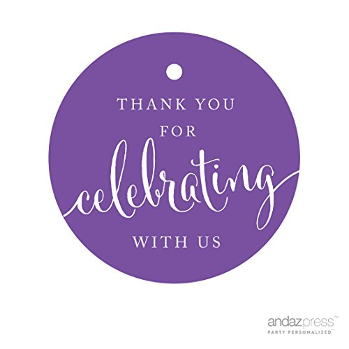 Andaz Press Circle Gift Tags, Thank You For Celebrating With Us, Purple, 24-Pack, Round Thanks Tag For Baby Bridal Wedding Shower, Anniversary Celebration, Graduation, Outdoor Event, Picnic, Luau, Christmas Hanukkah Holiday Party, Sweet 16 Quinceanera Birthday, Kids Birthday Party, Baptism, Christening, Confirmation, Communion Party Favors, Gifts, Boxes, Bags, Treats and Presents