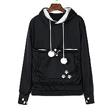 Women Big Kangaroo Pouch Hoodie Long Sleeve Pet Cat Dog Holder Carrier Sweatshirt
