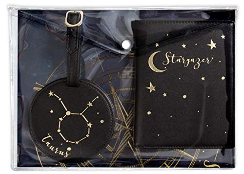 Hang Accessories Celestial Horoscope Astrology Zodiac 3 Piece Travel Set - Luggage Tag, Passport Wallet and Document Clutch (Taurus)