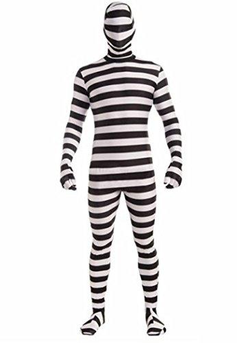 [CNS Zentai Costume Full Body Suit (L, stripe)] (Black Suit Spiderman Costume)