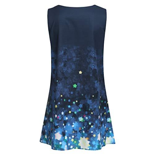 Women Shirt Dress Boho Fashion Printed Sleeveless O-Neck Beach Short Mini Dress Tops Shirt Dress for Women Plus Size by Funnygals (Image #3)