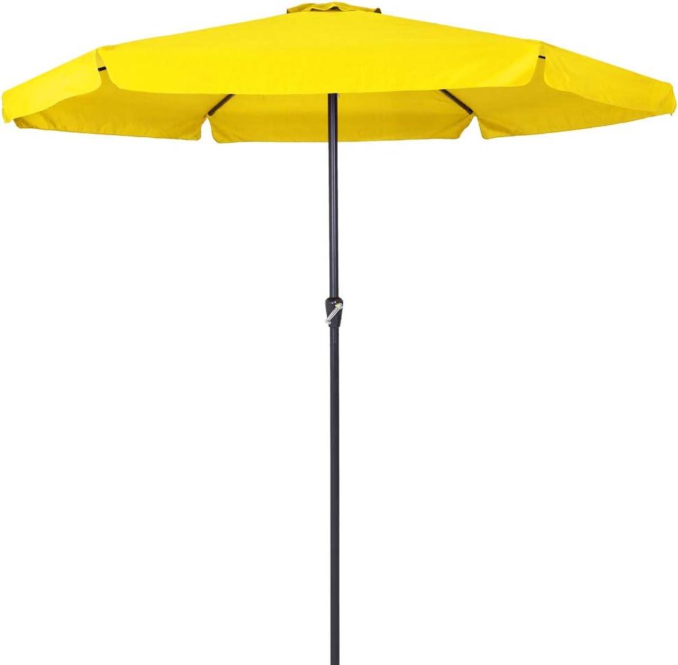 Deuba Sombrilla con manivela XXL 330cm Amarillo Parasol Sombra Playa Verano quitasol de Exterior jardín protección UV
