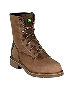 "John Deere Work Boots Mens Crazy Horse 8"" Shaft ST 10 W Brown JD8922"