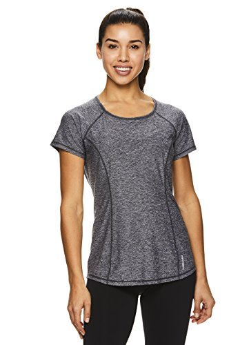 HEAD Women's Prime Short Sleeve Workout T Shirt - Performance Scoop Neck Activewear Top - Black Heather Prime, X-Small