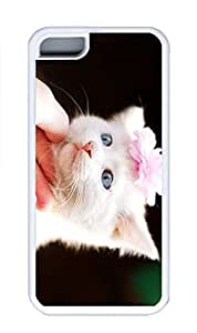 iPhone 5C Case, Personalized Custom Rubber TPU White Case for iphone 5C - Girl Cat Cover