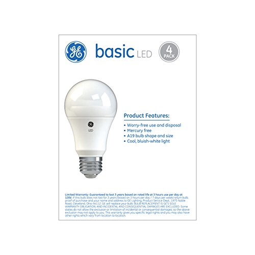 GE Lighting Basic LED Light Bulbs, 60-Watt Replacement, 4-Pack, Daylight, A19 LED Bulb, Medium Base