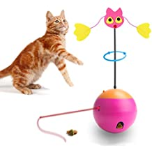 Agoigo Cat Toys Feather Spinning Teaser Zany Tumbler Ball with Attractive Chase Laser Light Food Dispenser 3 in 1 Kitten Toys