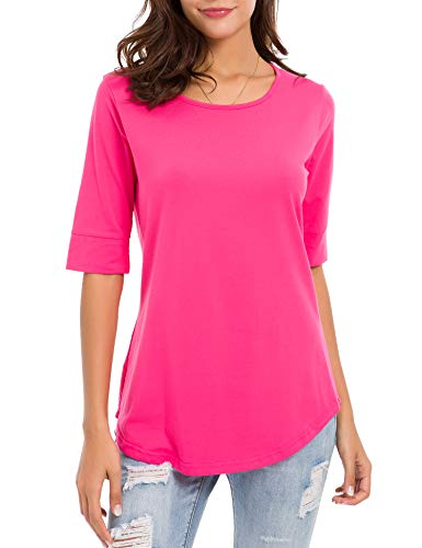 - MRLZ Women's Casual T Shirts Loose Cotton Mid Sleeve Basic Tee Tops with Solid Color