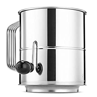 Flour Sifter 8 Cup Stainless Steel Rotary Hand Crank, Baking Sugar Sifter with 16 Fine Mesh Screen, Corrosion Resistant - Bake & Decorate Cakes, Pies, Pastries, Cupcakes