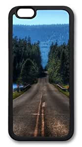 iphone 6 plus Case and Cover -Road in yellowstone montana TPU Rubber Soft Case Back Cover for iphone 6 plus 5.5 inch Black