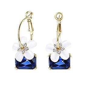 Kesaplan Flower Earrings Hawaiian Plumeria Flower Crystal Leverback Earrings for Women Square Crystal Drop Dangle…