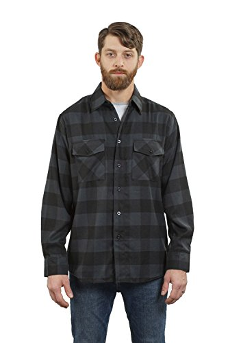 YAGO Men's Long Sleeve Flannel Plaid Button Down Shirt YG2508 (Charcoal/Black, Large)