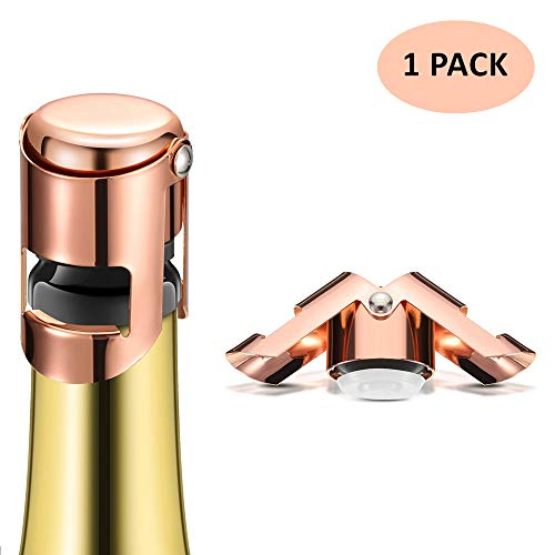 Champagne Bottle Stopper, Rose Gold Stainless Steel Champagne Sealer Plug, Super Powerful Vacuum Seal, Reusable Wine Saver for Champagne, Cava, Prosecco & Sparkling Wine (1 Pack)