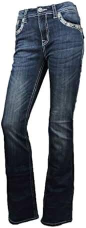 Grace L.A. Idol Women Bootcut Jeans Tribal Aztec Back Pocket Flap Stretch Dark Blue