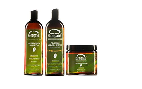 KERATIN ORGANIC TREATMENT (FORMALDEHYDE FREE) AND POST-TREATMENT SET - 8 products: Clarifying Shampoo (16oz) + Keratin (16oz) + Mask (16oz) + Shampoo (8oz) + Conditioner (8oz) + Leave-In (8oz) + Mask (8oz) + Argan Oil (2oz) by KERARGANIC