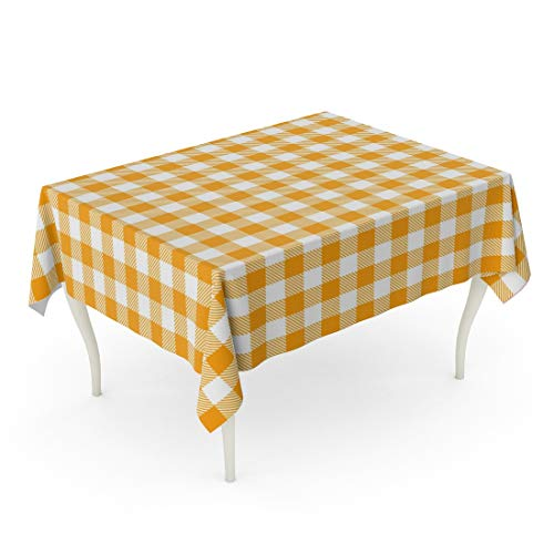 (Tarolo Rectangle Tablecloth 52 x 70 Inch Checkered Yellow Gingham and Buffalo Check Plaid Pattern Tablecloths Stamp for Sleepwear Products Table Table Cloth)