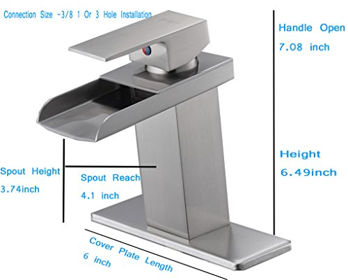 Brushed Nickel Faucet Waterfall Bathroom Spout Sink One: BWE Waterfall Bathroom Sink Faucet Brushed Nickel Single