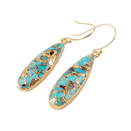 ZENGORI 1 Pair Long Teardrop Natural Turquoise with Line Fish Hook Drop Dangle Earrings G1547-E - Gold Turquoise Earrings