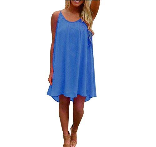 JYC Verano Falda Larga,Vestido De La Camiseta Encaje,Vestido Elegante Casual,Vestido Fiesta Mujer Largo Boda, Moda Mujer Espaguetis Correa Espalda Hueco Fuera Gasa Playa Corto Vestir Azul