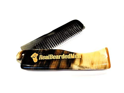Real Bearded Men Ox Horn Beard Comb - Natural Bone Beard and Mustache Comb (Ox Horn Beard Comb)