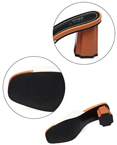 Caviglia Alla Spesso Pantofole Moda 36 Taglia Scarpe Tacco Donna E A colore Da A Con Piatti Sandali nwFWTHqx