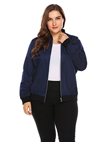 Zeagoo Womens Plus Size Classic Quilted Jacket Short Bomber Jacket Coat