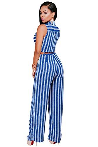 NEW Mesdames Royal Bleu et Blanc rayé sans manches Bouton avant Full Longueur combinaison Club Parti Porter Taille M UK 10–12–EU 38–40