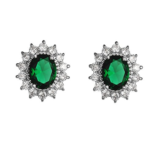 Bridal Earrings-KIVN Fashion Jewelry Cubic Zirconia Royal Princess Diana Earrings for Women (Emerald) -