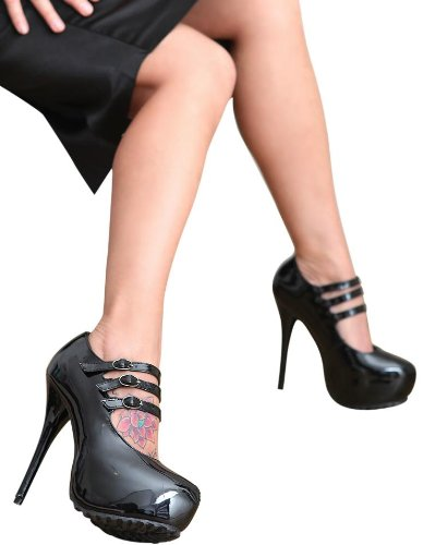 charol Lack vestir para Zapatos de negro negro de Heels mujer Erogance Plateau High 68Cqffw