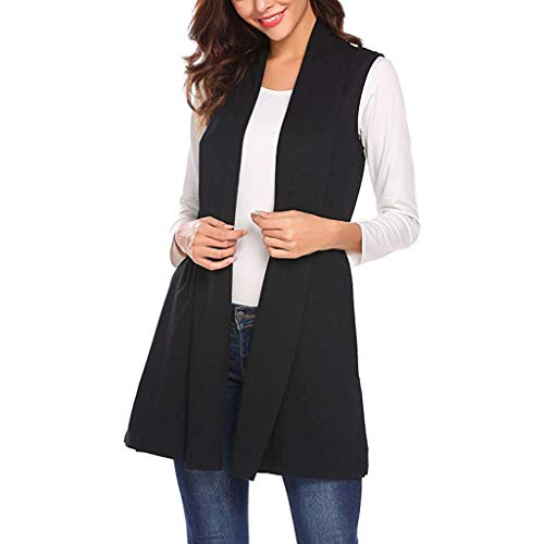 E-Scenery 2019 Womens Long Vests Sleeveless Draped Lightweight Open Front Cardigan Waistcoat with Side Pockets ()