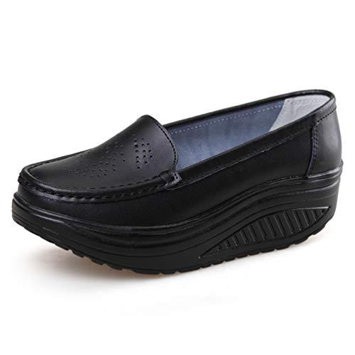 Compensée Chaussures Casual Trou Occasionnels Femme Travail Split Maille Porc Noir Mocassins Pompes En Infirmière Plateforme wEdHaqw