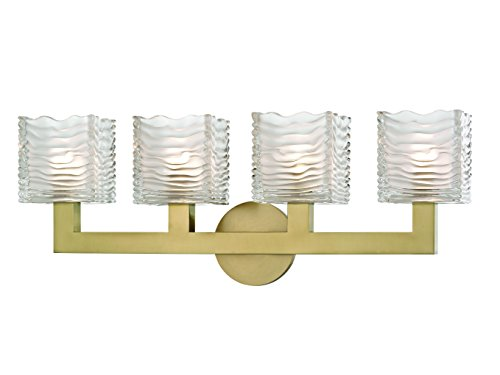 (Hudson Valley Lighting Hudson Valley 5444-AGB Contemporary Modern Four Light LED Bath Bracket from Sagamore Collection in Brass-Antiquefinish 4, Polished Nickel Finish)