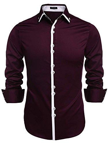 Wholesale COOFANDY Men's Contrast Color Button Down Dress Shirts Casual Shirts supplier