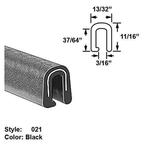 Heavy Duty Vinyl Plastic U-Channel Push-On Trim, Style 021 - Ht. 11/16'' x Wd. 13/32'' - Black - 25 ft long by Gordon Glass Co.
