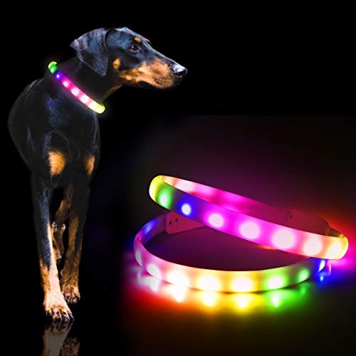 LED Dog Collar, Color Changing Glow Dog Collars with 4 Color Red/Green/Blue/Pink,Super Bright USB Rechargeable LED Collars for Dogs,Dog Light Up Collar Improve Pet Safety&Visibility at Day and Night.