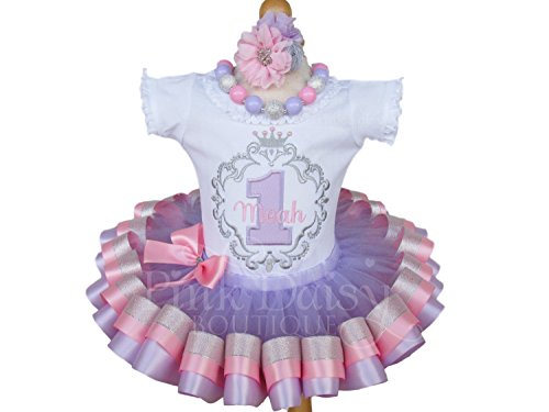 Girls Princess Birthday Outfit in Pink Lavender Silver with Personalized Shirt and Ribbon Trim Tutu (Flourishes Ribbon Tutu)
