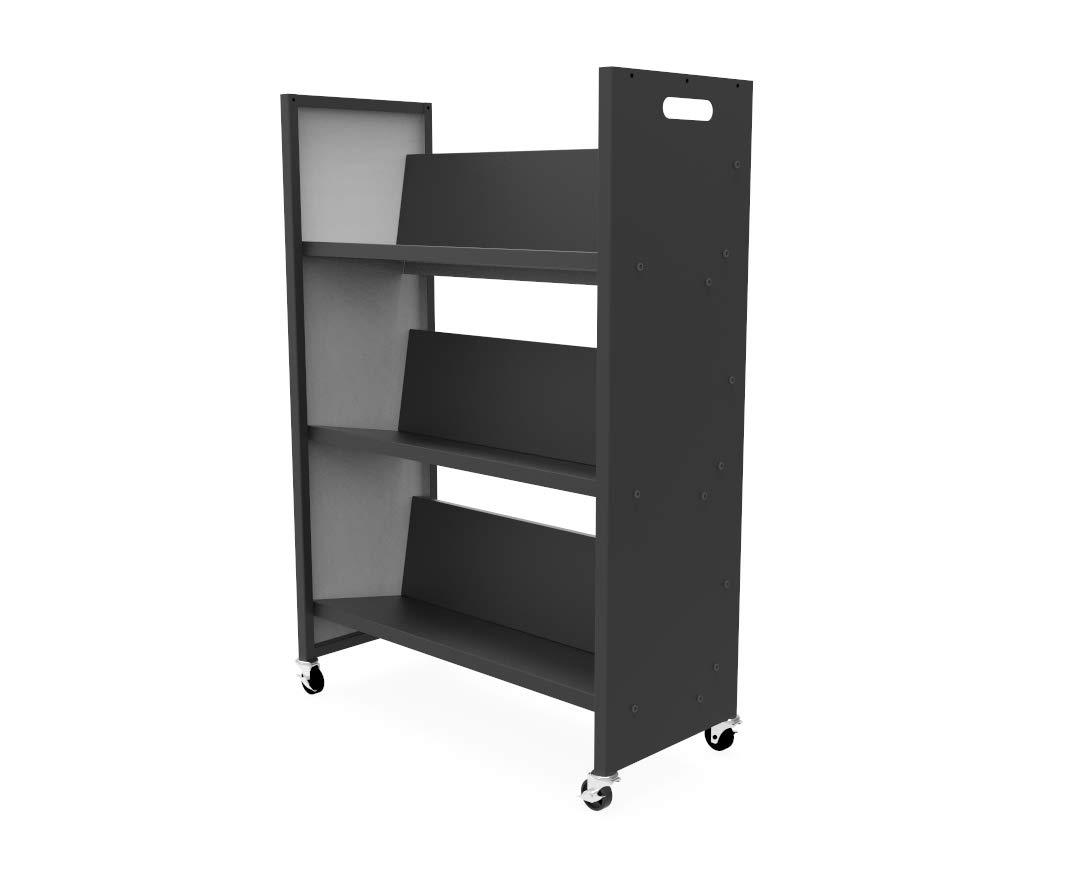 FixtureDisplays Metal Book Cart Rooling Book Truck Library Book Cart Wheels Pew Cart Book Trolley 11241-L-2D by FixtureDisplays