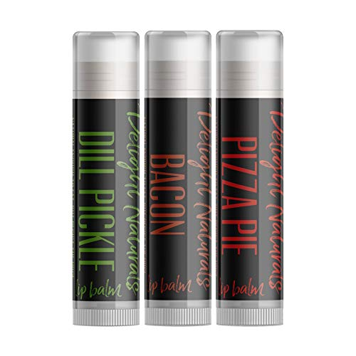 - Weird Flavor Fun Lip Balm Set - 3 Funny Novelty lip balm flavors - Dill Pickle, Pizza, and Bacon