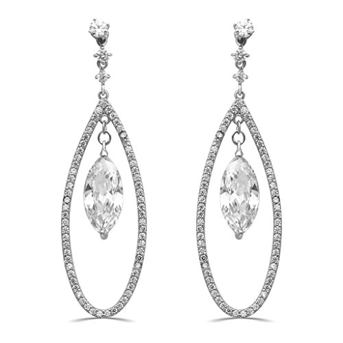 Jewelili Sterling Silver Marquise And Round Shaped Cubic Zirconia Teardrop Dangle Earrings ()