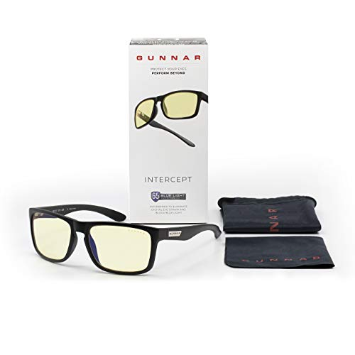 Gaming Glasses | Blue Light Blocking Glasses | Intercept By Gunnar | 65% Blue Light Protection, 100% UV Light, Anti-Reflective to Protect & Reduce Eye Strain & Dryness