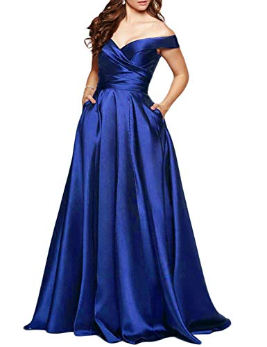 Scarisee Women's Long Off-The-Shoulder Prom Evening Dresses with Pockets Formal A-line Wedding Party Bridesmaid Gowns Royal Blue 02