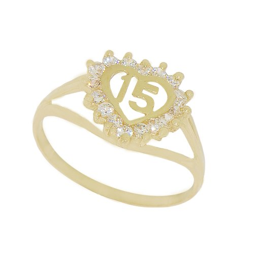14k Yellow Gold, Heart Design 15 Anos Quinceanera Ring with Brilliant Lab Created Gems