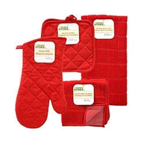 The Home Store Red Windowpane Pattern Kitchen Linens Collection Size: 6 Piece Set Color: Red Model: (Home & Kitchen)