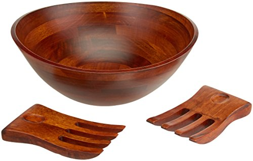 The Wooden Bowl (Lipper International 294-3 Cherry Finished Wavy Rim Serving Bowl with 2 Salad Hands, Large, 13