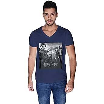 Creo Blue Cotton V Neck T-Shirt For Men