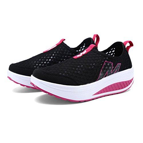d78ba604f808 SAGUARO Ladies Soft Toning Rocker Shoes Womens Mesh Sports Tennis Shoes  Slip On Wedges Platform Shoes