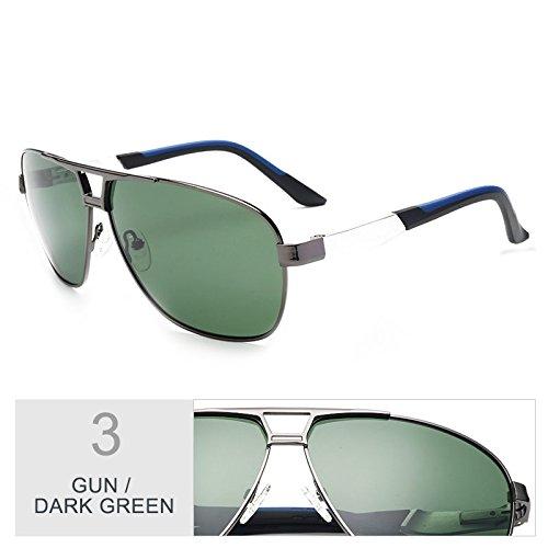 lunettes Sunglasses Aviator Green polarisées Homme Lunettes Dark Gun TL Classic Pour fYdUYPq